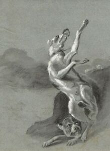 Boar Hunting after Abraham Danielsz. Hondius –Early 19th-century chalk drawing
