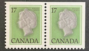 CANADA,  **NICE** 1979 Queen Elizabeth QEII 17 Cent green. Corner Pair.  MNH