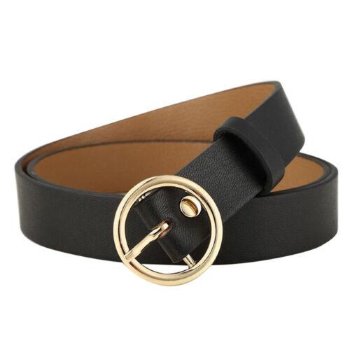 Classic beauty women gift lady PU leather Gold Round Metal Circle Waist Belts