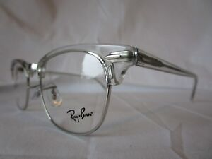 8170d94986 RAY BAN EYEGLASS FRAME CLUBMASTER RX5154 2001 CLEAR SILVER 49 MM NEW ...