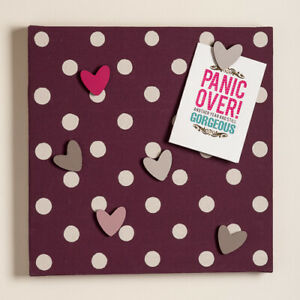 Trendy Handmade Magnetic Noticeboard Aubergine Dots with Magnets