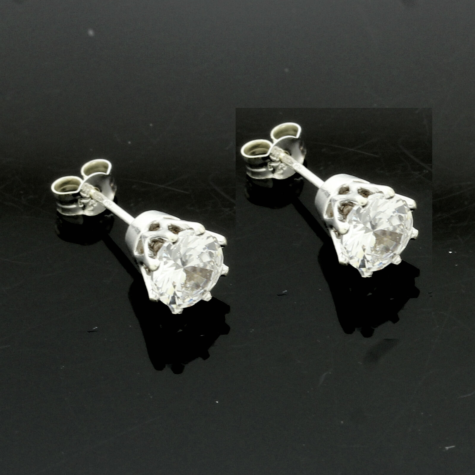 9ct White gold Rex Claw Set 5mm White  C Z Earrings - UK MADE
