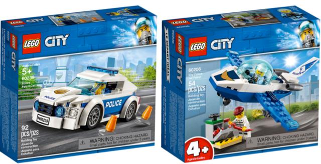 Lot of 2 set LEGO CITY POLICE PATROL CAR and SKY JET PATROL 60206 60239 NEW