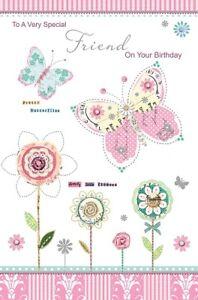 Détails Sur Carte Danniversaire Joyeux Anniversaire Ami Papillons Fleurs Porte