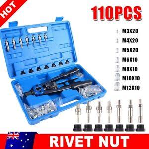 Rivet Kit 106 Pcs Threaded Nutsert Rivnut Nut Riveter Setter Rivets Box Tool Set