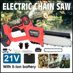 Cordless 8'' Electric One-Hand Wood Cutting Saw Chainsaw With Battery & Charger