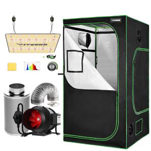 "VIVOSUN 48x48x80"" Reflective Mylar Grow Tent w/ VS1000 LED 6"" Ventilation fan"