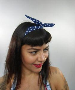 Bandeau-foulard-cheveux-rigide-cordon-maleable-tissu-bleu-marine-pois-blancs