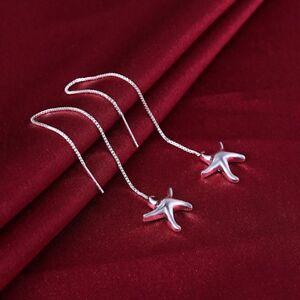 Womens-925-Sterling-Silver-Starfish-Threader-Long-Drop-Dangle-Earrings-E170
