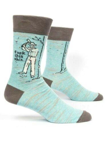 "Mens Crew Socks Blue Q /""F**ck this Sh*t /"" Funny Rude Novelty Adult Gift 7-12"