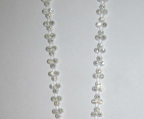 Diamante Rhinestone Designer Crystal Chain White Pearl Silver