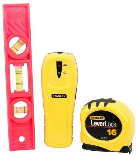 New Stanley 3 Piece Household Tool Kit Stud Sensor Tape Measure Torpedo Level
