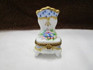 Porcelain Chair Trinket Boxes Vintage Hinged Trinket Box