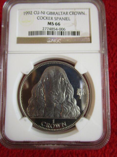 1992 Gibraltar Cocker Spaniel dog coin NGC MS66 pcgs icg anacs europe euro crown