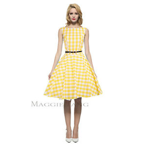 adee06956ee7 Maggie Tang 50s VTG Retro Pinup Rockabilly Check Business Swing ...