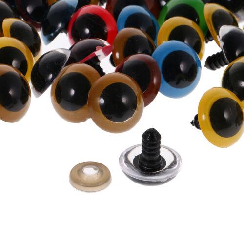 100x Stofftiere Herstellen DIY Handwerk Augen Glitzer Teddyaugen 20mm Bunt