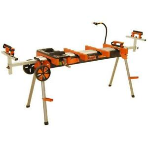Portable Miter Saw Stand Wheels Work Light Outlet Heavy ...
