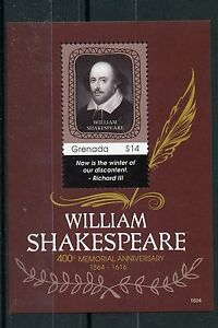 Bien Grenade 2016 Neuf Sans Charnière William Shakespeare 400th Memorial Anniv 1v S/s Timbres