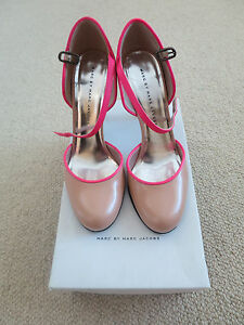 MARC-JACOBS-Heels-NUDE-with-Hot-Pink-Trim-NEW-IN-BOX-Size-37-RRP-645