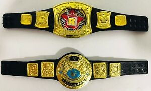 Championship-Belts-Accessory-Lot-of-2-Mattel-WWE-Elite-Rated-R-and-World-Title