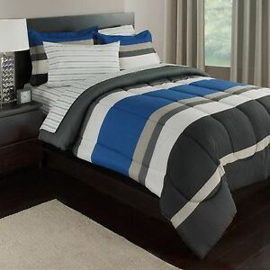Blue White Amp Gray Stripes Boys Teen Twin Comforter Set 5
