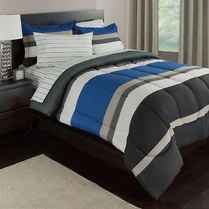 Blue White Amp Gray Stripes Boys Teen Twin Comforter Set 5