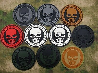 Dark Ghost OPS Don't Run Military Morale Tactics 3D PVC Patch Badges