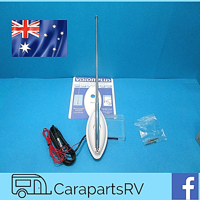 Vision Plus Electronic Amplified FM MW LW Aerial for Caravans Motorhomes//Boats White
