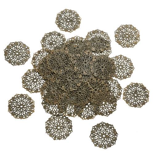 100pcs Iron Filigree Joiners Links Flat Round Metal Charms Crafting 35.5x0.7mm