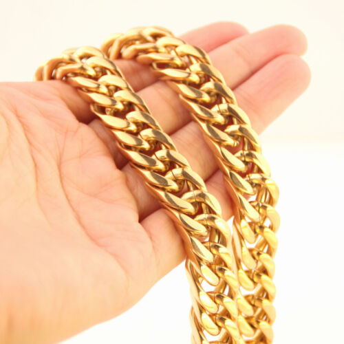 """6//8//10//12//14//17mm Silver Gold Stainless Steel Curb Chain Mens Top Necklace 7-40/"""""""