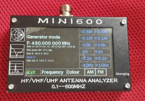 Battery 0.1-600MHz HF//VHF//UHF ANT SWR Antenna Analyzer Meter Frequency Sweep