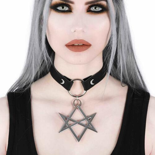 KILLSTAR Hexagram Choker Leder-Halsband Unikursal Schutz-Symbol Gothic Wicca