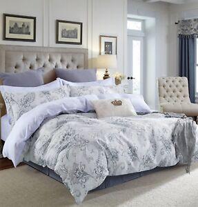 Gray-Paisley-100-Cotton-3pc-Bedding-Set-1-Duvet-Cover-2-Pillow-Shams-Queen-King