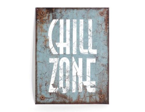 Wandschild Schild Blechschild Chillzone Chill Zone aus Metall
