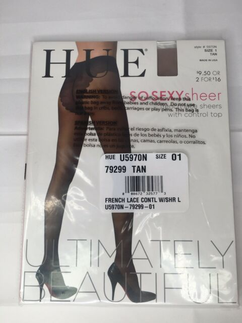7ac421a8d1dbf HUE Ultimately Beautiful So SEXY Sheer Pantyhose French Lace Sz 1 Tan 5970N  NEW