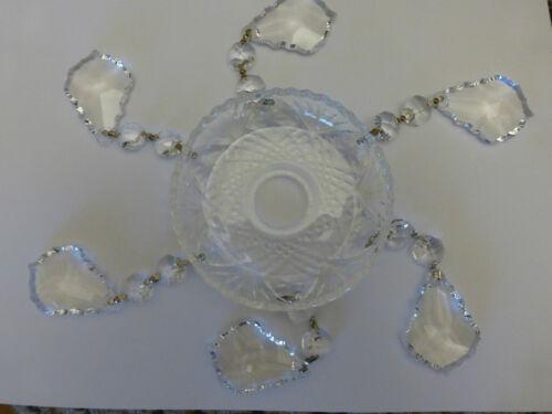 Lüsterschale Behang Glas Tropfschale Kerzenständer Teller m Kristall-Wachtel