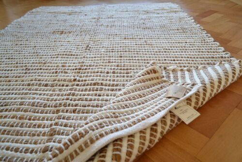 Cotton Jute White Cream Soft Rug Runner Chindi Large 180x230cm Natural 6/'x8