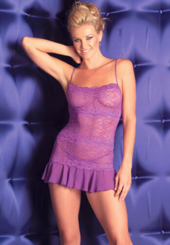 NEW BEAUTIFUL VIOLET PURPLE LACE STRETCH MINI DRESS G STRING CHEMISE SHEER S XL