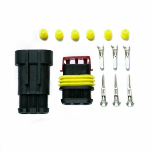 Superseal Three Pin Electrical Waterproof 12 Volt /& 24 Volt Connector Kit.