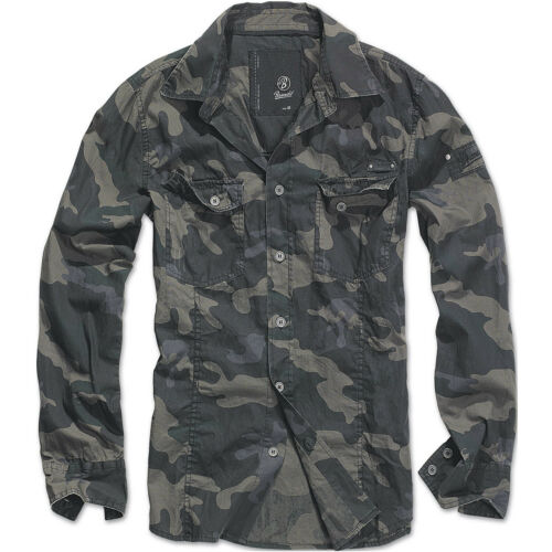BRANDIT MENS SLIMFIT HIKING SHIRT MILITARY LONG SLEEVE ARMY COTTON TOP DARK CAMO