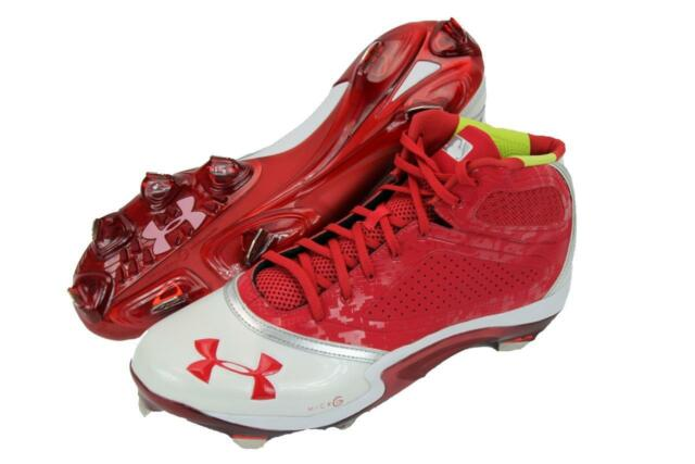 f687508d671 New Under Armour UA Heater Mid ST Baseball Cleats Men s Size 15 Red 1232849