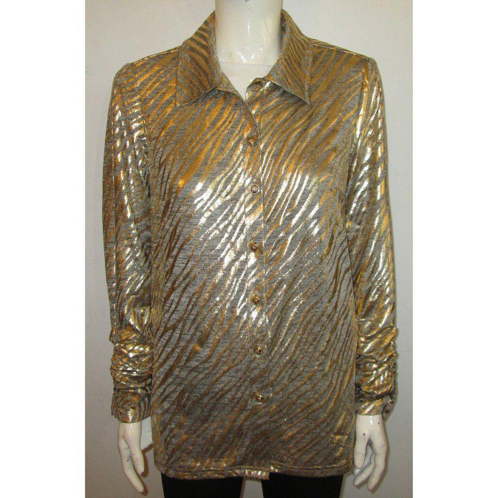 New Berek Golden Dust Metallic Zebra Print Woherren Soft Shirt Jacket Größe XL