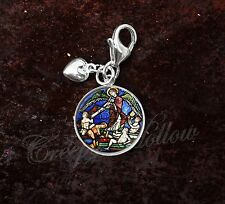 925 Sterling Silver Charm Medieval Stained Glass Church Art Angel