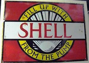 FRIDGE MAGNET MAN CAVE DINER SHELL MOTOR OIL AUTO RETRO TIN SIGN WALL PLAQUE