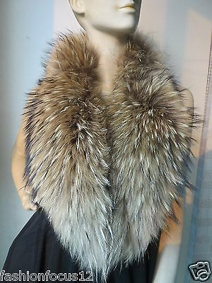 Rich Elegant handmade Real Whole  Raccoon  fur collar/scarf/ 100cm*18cm