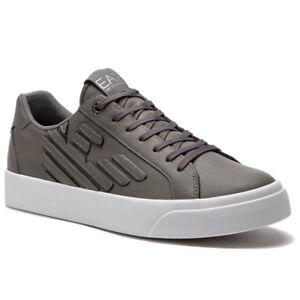 Sneakers-Uomo-Emporio-Armani-EA7-X8X004-XK005-Scarpe-Pelle-Grigie-Bianche-Nuove