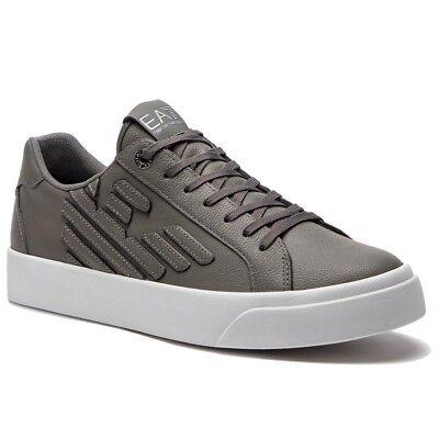 995085809b Sneakers Uomo Emporio Armani EA7 X8X004 XK005 Scarpe Pelle Grigie Bianche  Nuove   eBay