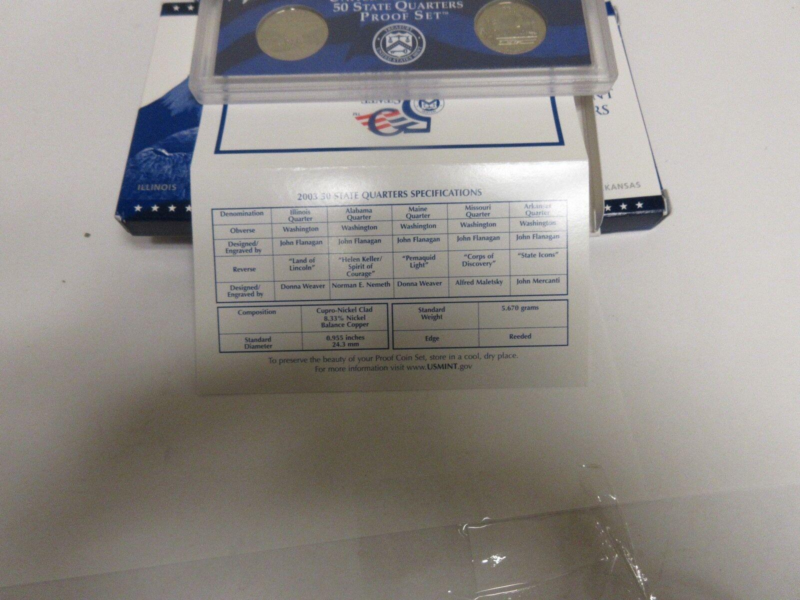 2003 U.S.A. Mint , 50 State Quarter Proof Set , Lot of
