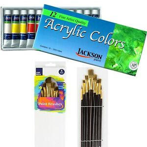 RICHESON-12-Colours-x12ml-Acrylic-Paint-Tubes-Set-8-Paint-Brushes-Kit-Painting