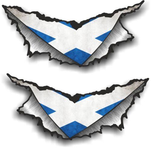 SMALL Pair Triangular Ripped Metal /& Scotland Scottish Flag Vinyl Car Sticker